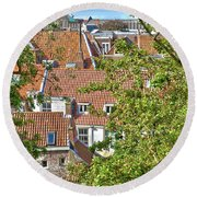 The Rooftops Of Leiden Round Beach Towel