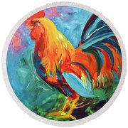 Round Beach Towel featuring the painting The Rooster by Tom Riggs