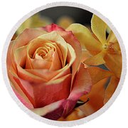 Round Beach Towel featuring the photograph The Rose And The Orchid by Diana Mary Sharpton