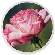 Round Beach Towel featuring the painting The Rose by Lori Brackett