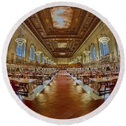 The Rose Main Reading Room Nypl Round Beach Towel