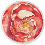 Round Beach Towel featuring the painting The Rose by Mary Haley-Rocks