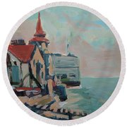 The Round Tower Of Portsmouth Round Beach Towel by Nop Briex