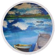 Round Beach Towel featuring the painting The Rowboat by Gary Smith