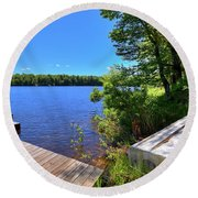 Round Beach Towel featuring the photograph The Rowboat On West Lake by David Patterson
