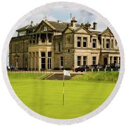 The Royal And Ancient Golf Club Of St Andrews Round Beach Towel by MaryJane Armstrong