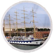The Royal Clipper Docked In Venice Italy Round Beach Towel