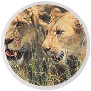 Round Beach Towel featuring the painting The Royal Couple II by Alan M Hunt