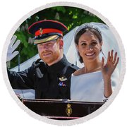 The Royal Wedding Of Prince Harry  To Meghan  Round Beach Towel