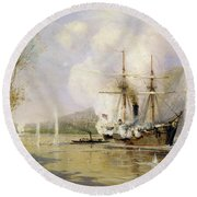 The Russian Destroyer Shutka Attacking A Turkish Ship On The 16th June 1877 Round Beach Towel