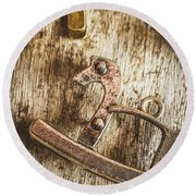 The Rusted Toy Horse Round Beach Towel