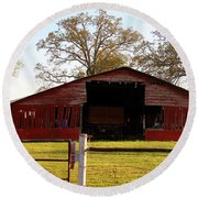Round Beach Towel featuring the photograph The Rustic Barn by Kathy White