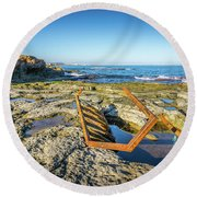 Round Beach Towel featuring the photograph The Rusty Steps by Gary Gillette