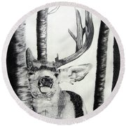 Round Beach Towel featuring the drawing The Rutt by Mayhem Mediums