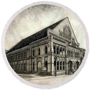 Round Beach Towel featuring the painting The Ryman by Janet King