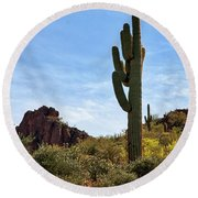 The Saguaro Against The Sky Round Beach Towel