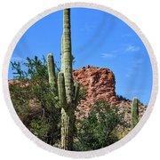 Round Beach Towel featuring the photograph The Saguaro And The Deep Blue Sky by Kirt Tisdale