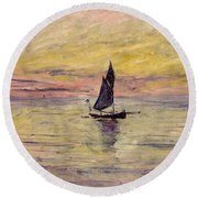 The Sailing Boat Evening Effect Round Beach Towel