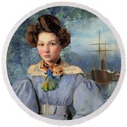 The Sailor And The Maiden Round Beach Towel