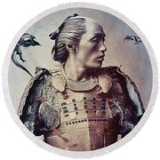 The Samurai And The Dragons Round Beach Towel