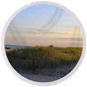 The Sand Dunes Of Long Island Round Beach Towel