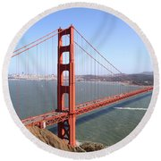 Round Beach Towel featuring the photograph The San Francisco Golden Gate Bridge 7d14507 by Wingsdomain Art and Photography