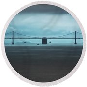 The San Francisco - Oakland Bay Bridge Round Beach Towel