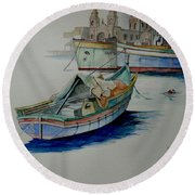 Round Beach Towel featuring the painting The San George by Ray Agius