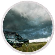 The Saskatchewan Whale's Mouth Round Beach Towel by Ryan Crouse