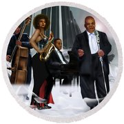 The Saxophone And The Lady Round Beach Towel