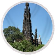Round Beach Towel featuring the photograph The Scott Monument In Edinburgh, Scotland by Jeremy Lavender Photography