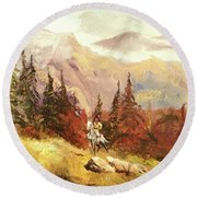 Round Beach Towel featuring the painting The Scout by Alan Lakin