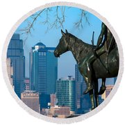 The Scout Statue Round Beach Towel