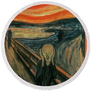 The Scream  Round Beach Towel