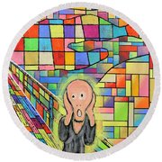 The Scream Jeremy Style Round Beach Towel