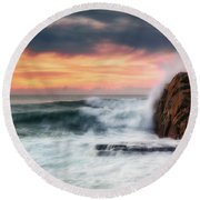 The Sea Against The Rock Round Beach Towel