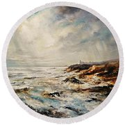 Round Beach Towel featuring the painting The Sea  by AmaS Art