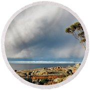 The Sea And The Sky Round Beach Towel