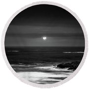 The Sea By Night Round Beach Towel by Martina Fagan