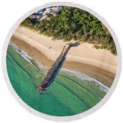 The Sea Wall Near Noosa Main Beach Round Beach Towel