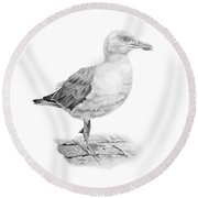 The Seagull Strut Round Beach Towel