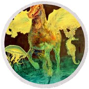 Round Beach Towel featuring the painting The Seahorse by Henryk Gorecki