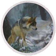 The Searching Wolf Round Beach Towel by Ernie Echols