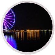 The Seattle Ferris Wheel Round Beach Towel