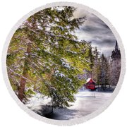 Round Beach Towel featuring the photograph The Secluded Boathouse by David Patterson