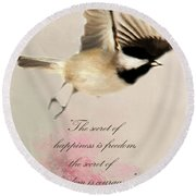 Round Beach Towel featuring the photograph The Secret by Darren Fisher