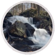 The Secret Waterfall 1 Round Beach Towel