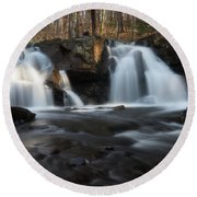 The Secret Waterfall In Golden Light Round Beach Towel