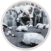 The Secret Waterfall In Winter 1 Round Beach Towel
