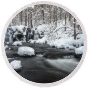 The Secret Waterfall In Winter 2 Round Beach Towel